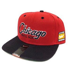 Chicago White Sox Nike Retro Throwback Script Snapback Cap Red/Navy NWT