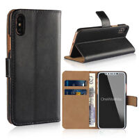 Luxury Real Leather Wallet Phone Case Cover with Card slot For Apple iPhone XR