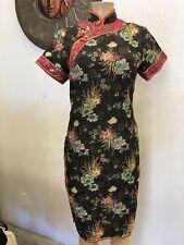 Vintage Black silk blend Chinese dress black Fitted  Small,Rockabilly,Viva Vegas