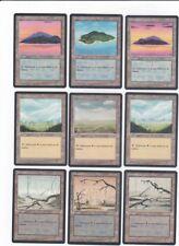 MTG PORTUGUESE BLACK BORDERED FBB 15 BASIC LANDS SET ~ISLAND,SWAMP,MOUNTAIN,PLAI