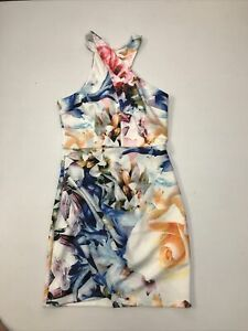 Spicy Sugar Floral Crossover Neck Wiggle Stretch Dress Size 10 Party Cocktail