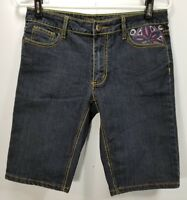 Brighton Blues Girls Size 7/8 Denim Dark Blue Jean Shorts w/Embellished Pockets