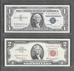 1957 B + 1963 - ( 2 )  $1 + $2 *Fancy Quad* Red Seal & Silver Certificate Notes