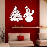 Christmas Wall Sticker Tree and Snowman - Wall Window Shop Quote Sticker