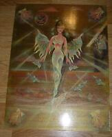 VINTAGE MERMAID FAIRY SUNSET DUSK OCEAN BUTTERFLY COTTAGE SEA NAUTICAL PAINTING