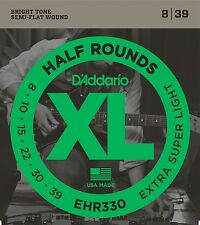 D'Addario EHR330 Half Rounds Stainless Steel Electric Guitar Strings 8-39