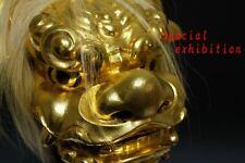 Japan antique big gold mask Shishimai Facet kagura Buddhist statue Temple Busho