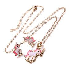 3pcs Cartoon Horse Unicorn Necklace Earring Jewelry Pink Girls Gift Jewelry、new