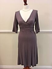 THE WHITE COMPANY CHARCOAL GREY FIGURE HUGGING JERSEY DRESS 3/4 SLEEVES - XS 6/8