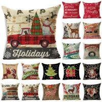 """18"""" Christmas Cotton Linen Throw Pillow Case Sofa Waist Cushion Cover Home Decor"""