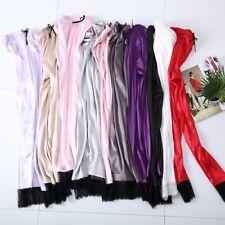 Women Faux Silk Lounge Pants Satin Bottoms Trouser Pajamas Lace Sleepwear Soft
