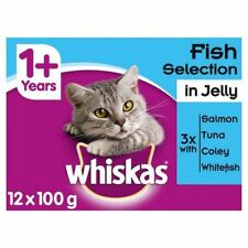 6x Whiskas 1+ Cat Pouches Fish Selection in Jelly 12 x 100g