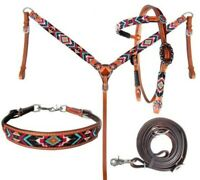 Showman 4 Piece Beaded Aztec Headstall & Breast Collar Set! NEW HORSE TACK!