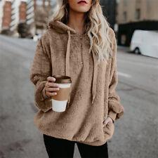Women Warm Fleece Hooded Fluffy Sweatshirt Hoodies Winter Jumper Coat Plus Size