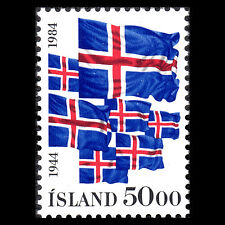Iceland 1984 - 40th Anniv of Iceland Republic Flags - Sc 591 MNH