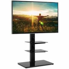 RFIVER Black Floor TV Stand Height Adjustable for 32 42 43 49 50 55 60 65 inch