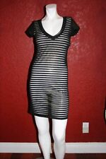 COSTA BLANCA  DRESS  BLACK WHITE STRIPES SHORT SLEEVE ABOVE KNEE  S/P