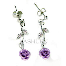 Lilac Purple Rose Flower Floral made with Swarovski Crystal Bridal Earrings Cute
