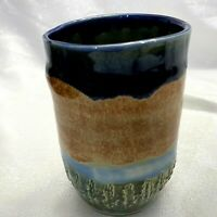 "Sunset Studio Pottery Art Vase Tumbler Cup Rustic Free Form Thrown Pen Holder 5"""