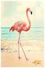 Maxi-Poster - Größe 61 x 91,5 cm - Pink Flamingo am Strand