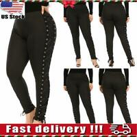 Plus Size Women Steampunk Gothic High Waist Pants Ladies Leggings Trousers L-5XL