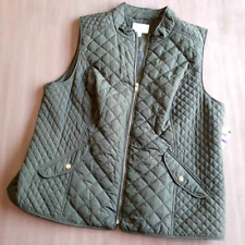 Charter Club Womens XXL Quilted Vest Green Zip Stand Collar Flap Pockets Outdoor