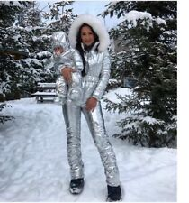 Winter Jumpsuit Women Men Metallic Silver Ski Snow Suit Glanznylon Glossy Shine
