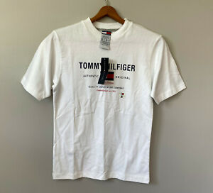 NEW Retro 2001 Tommy Hilfiger Short-Sleeve Logo T-Shirt sz Small Boys Youth Falg