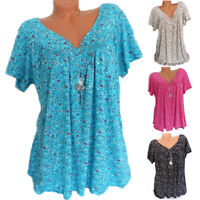 Plus Size Women's V-Neck Floral T-Shirt Loose Short Sleeves Casual Summer Tops