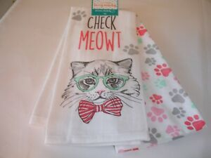 New! S/2 Cat with Glasses Paw Prints Kitchen Dish Towels Hand Cotton Tea Towels