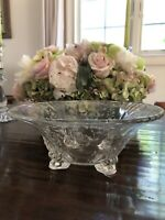Vintage Etched Glass Footed Fruit Bowl