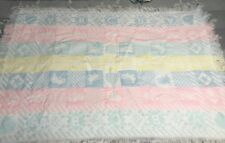 Vintage Baby Blanket Pastel Knit Fringe Lovey Bears Letters Pink Blue Yellow