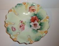 """Antique  RS PRUSSIA Porcelain Decorated Berry Bowl 8 1/2"""""""