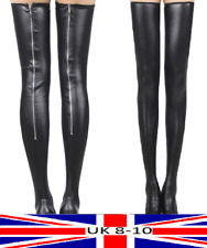 Faux Leather Stockings Wet Look Zip Up Goth Punk Rock Burlesque Dance Adult Teen