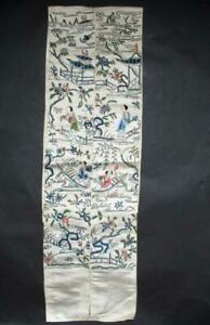 2 Antique Chinese Silk Embroidery Sleeve Band Robe Embroidered