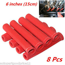 8pc RED 1200° SPARK PLUG WIRE BOOTS HEAT SHIELD PROTECTOR SLEEVE SBC BBC 350 454