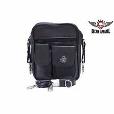 Motorcycle Riders Leather Traveling Bag Purse with Spider & Web Pocket for Docs