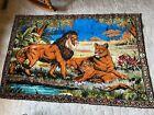 vintage large African lion scene rug tapestry
