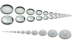 Knöpfe zum Beziehen mit Stoff, Knopfrohlinge zum Annähen in vielen Größen weiß