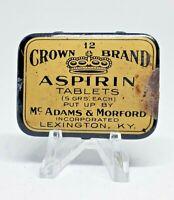 Vintage Medicine Tin: Crown Brand ASPIRIN, Mc Adams & Morford, rare and scarce