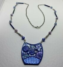 LONG ART DECO STYLE FLOWER NECKLACE BLUE PINK PURPLE & SILVER. PEARLS