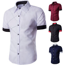 Mens Stylish Slim Fit Short Sleeve Casual Luxury Shirts Tops Casual Dress Shirt
