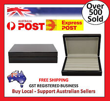 Luxury high gloss wooden Ebony cufflink display storage box case ring (Defects)