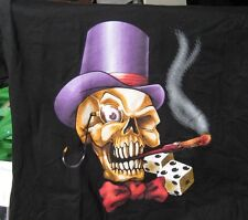 Smokin' Skull with Purple Hat Black Large Tee Shirt Cotton Gildan Activewear