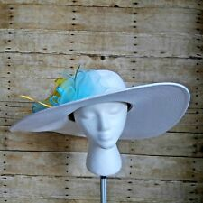 August Hat Company Womens Hat White w/ Yellow Ribbon Rose Turq. Ribbon Feathers