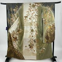 Woman, Japanese kimono Furisode, Silk, Plum Tree, Cloud, Gold, Off-white