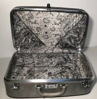 Vintage Carry On Ventura Train Case Luggage Silver MidCentury Stripes Of Fashion