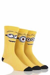 Mens 3 Pair SockShop Despicable Me Minions Faces Cotton Socks