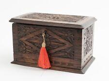 Antique Arts & Crafts Carved Oak Box - Stylised Floral Design & Dovetail Joints