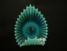 ART GLASS CANDY DISH Ribbed Turquoise Nuts Trinkets Unique